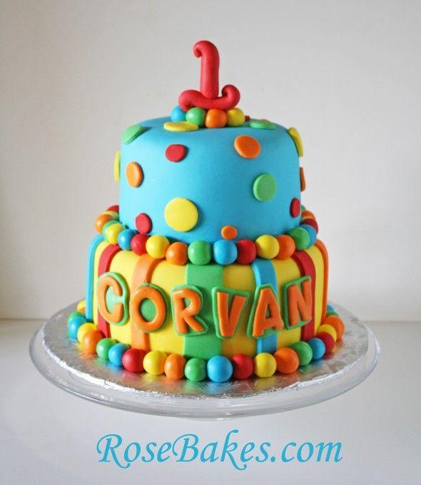 Bright Stripes Polka Dots 1st Birthday Cake Birthday cakes