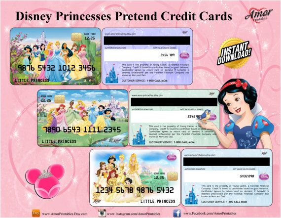 Disney Princess Pretend Credit Cards, Membership Cards; party - printable membership cards