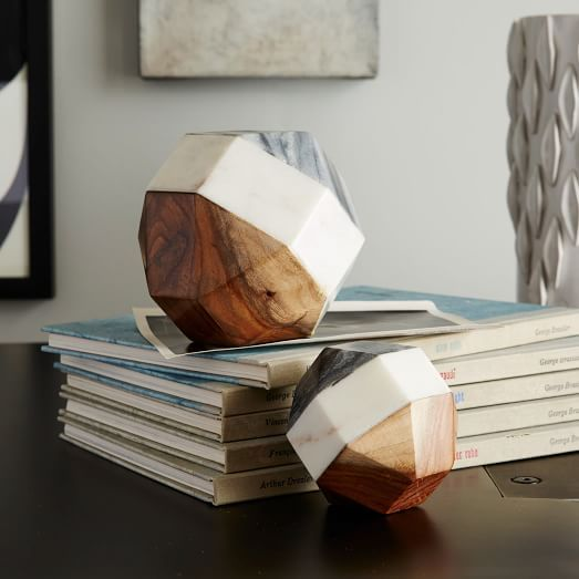 Marble Wood Geometric Objects Marble Wood Wood Bookends Wood