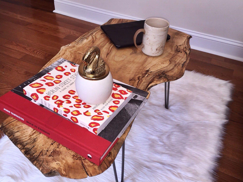 Live Edge Wood Slab Coffee Table w/ Raw Hairpin Legs