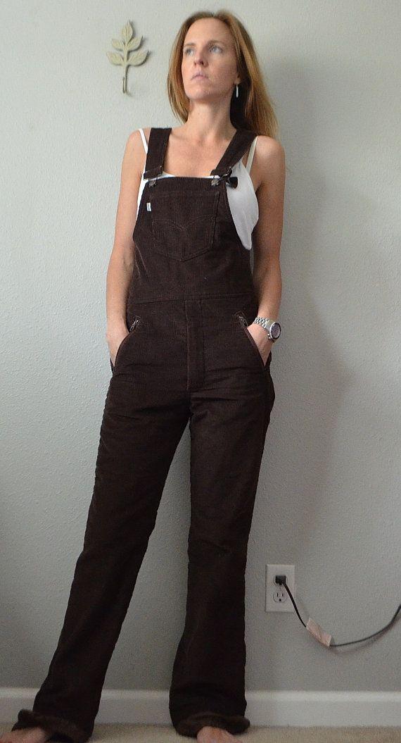 22e610faf74f Vintage 70s Levi s SKI Corduroy Brown Bib Overalls Jumpsuit ...