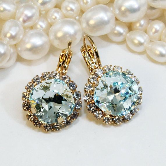 Ice Blue Drop Earrings Square Swarovski Crystal Duck Egg Cushion Square Cut Something Blue Pale Blue Ice Bridesmaids,Gold,Light Azore,GE114