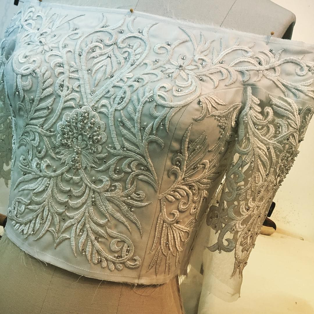 Beautiful embroidered bodice being worked on in the studio today. #ChristianSiriano