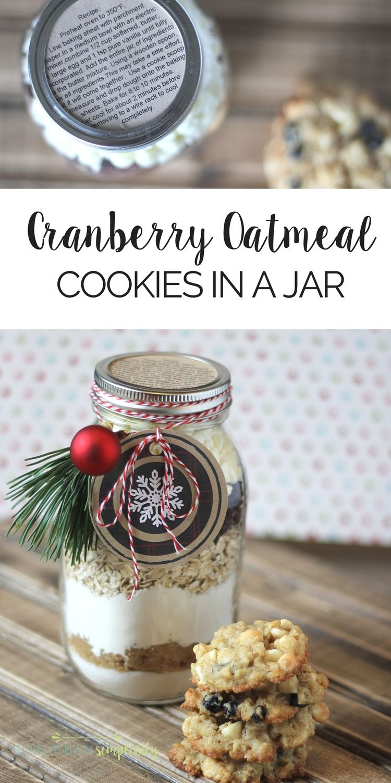 Cranberry White Chocolate Oatmeal Cookies In a Jar | Recipe | \
