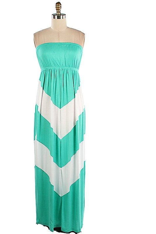 05415c60ca2c8 Long strapless Chevron Maxi Dress Turquoise and white Chevron Pattern on  Etsy, $36.00