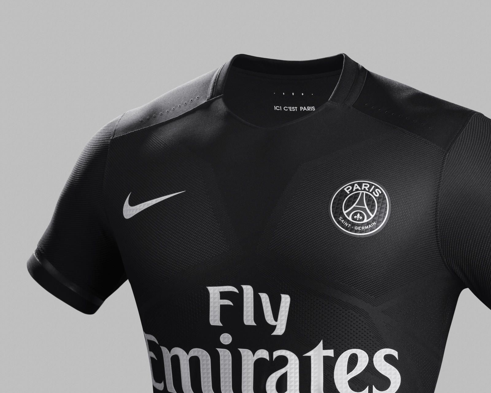 Nike News - Nike Dark Light  o poderoso uniforme preto do Paris  Saint-Germain 6d7b102cf8e31