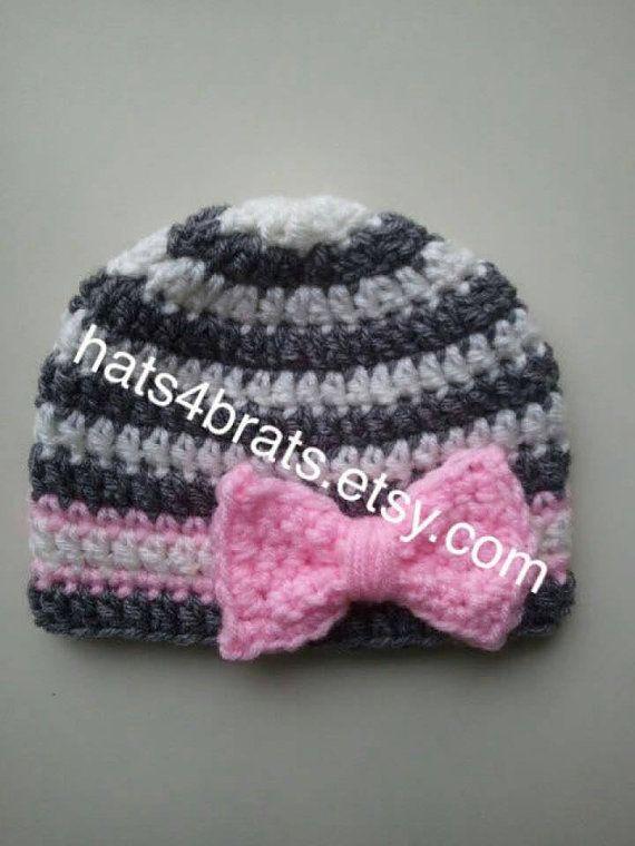 Sombrero de ganchillo bebé, sombrero de niña bebé, sombrero de ganchillo recién nacido, sombrero de ganchillo bebé, sombrero de bebé, recién nacido Photo Prop, sombrero gris, sombrero de lazo de la niña del bebé #uncinettoperbambina