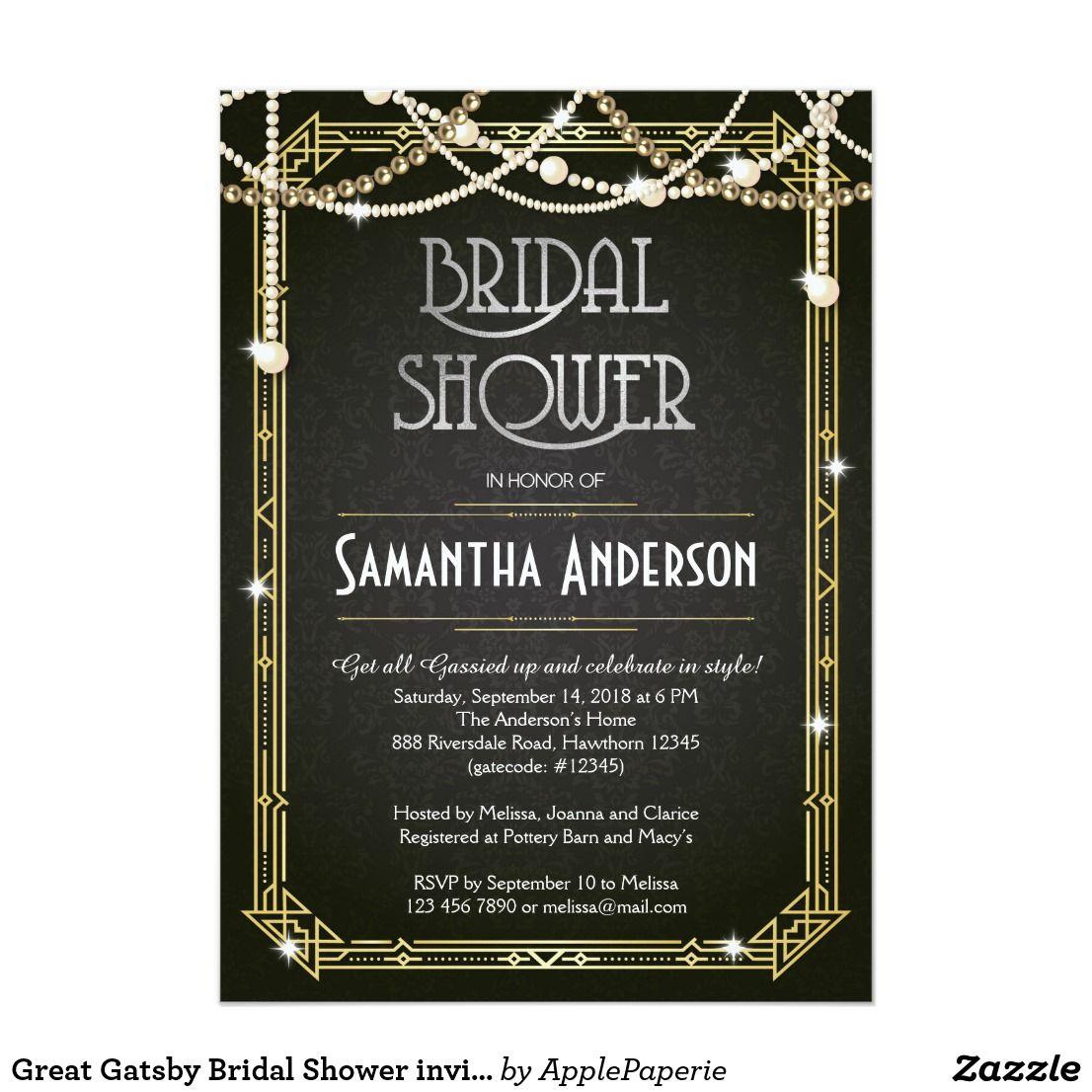 Great gatsby bridal shower invitation art deco bridal shower great gatsby bridal shower invitation art deco filmwisefo