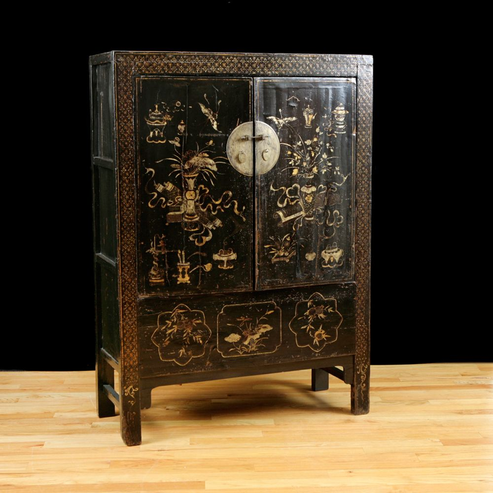 Antique Chinese Qing Cabinet with Original Polychrome & Lacquer (Sold) - Antique Chinese Qing Cabinet With Original Polychrome & Lacquer