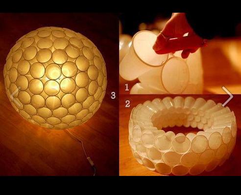 hilfe lampen selber bauen und dann noch ausgefallen lampenschirm basteln plastikbecher. Black Bedroom Furniture Sets. Home Design Ideas