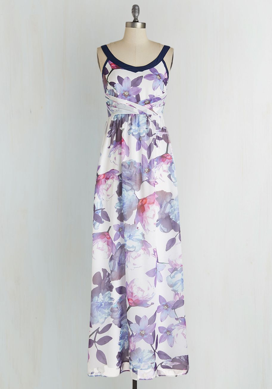 Chimerical the Beautiful Dress. Has there ever been a more fantastical look than this white floral maxi dress by Yumi? #multi #modcloth