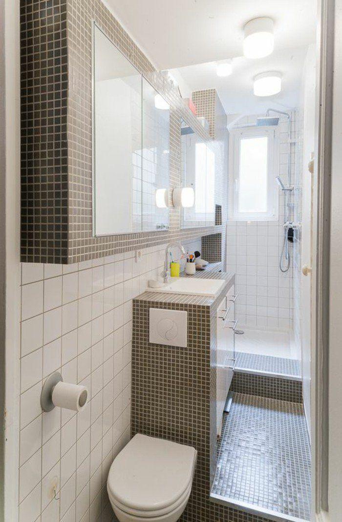 jolie salle de bain 4m2, revetement en mosaique gris, mur en carreaux blancs