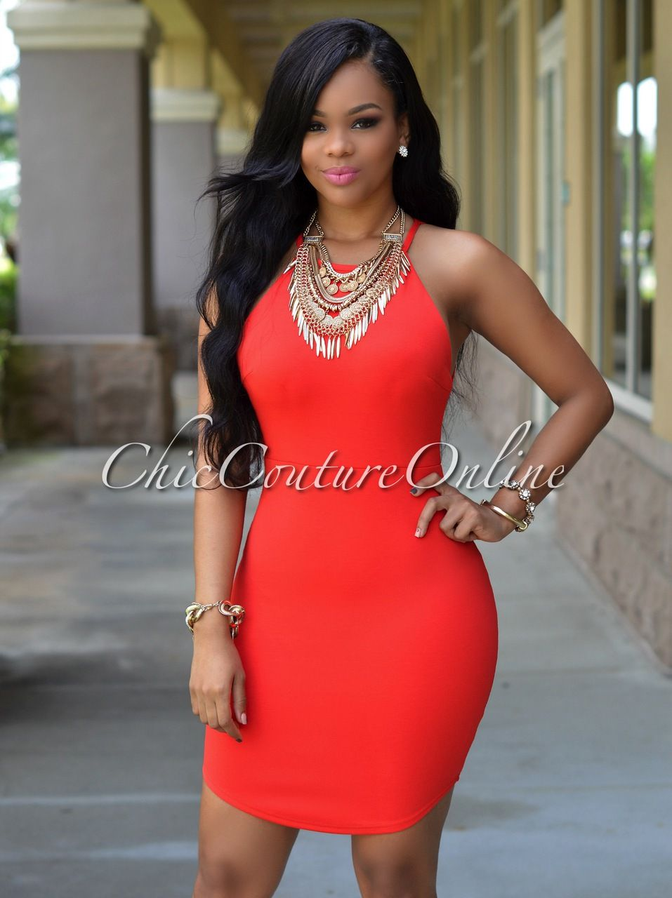 Cheap xl red dress