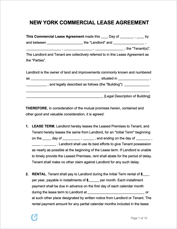 New York Generic Commercial Lease Agreement Lease Agreement Lease Agreement