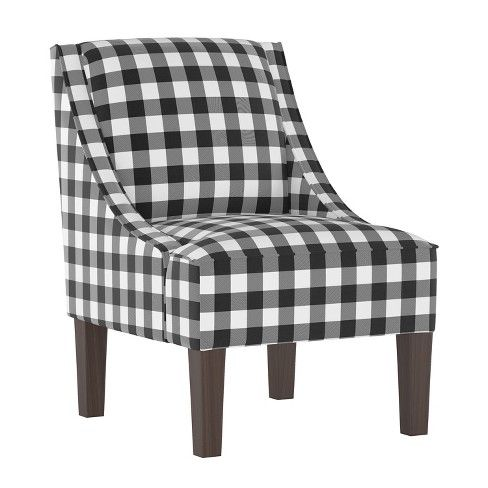 Best Hannah Swoop Arm Chair Black White Check Cloth Company 400 x 300