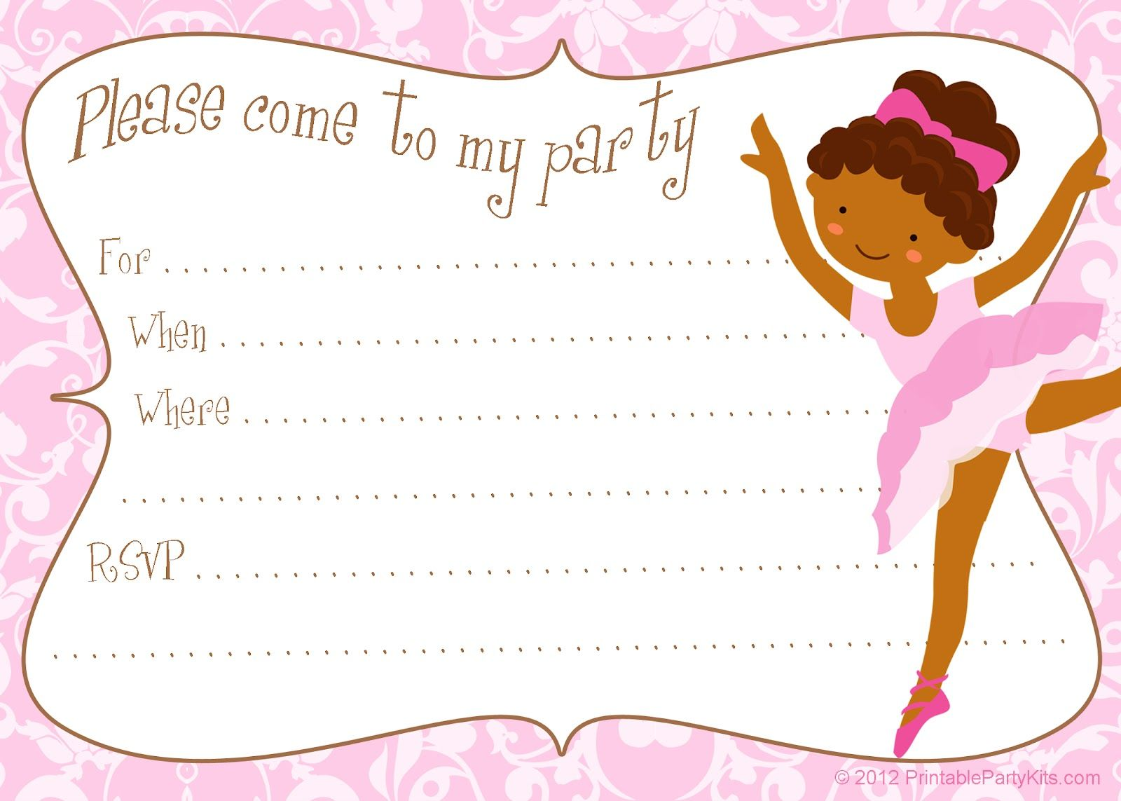 Free Printable Party Invitations: Printable Free Ballerina Party ...