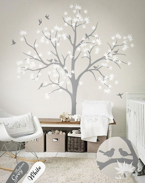 Tree Decal With Bird And Leaves White Tree Wall Decals Nursery Etsy Nursery Wall Decals Tree Tree Wall Decal Wall Stickers Living Room