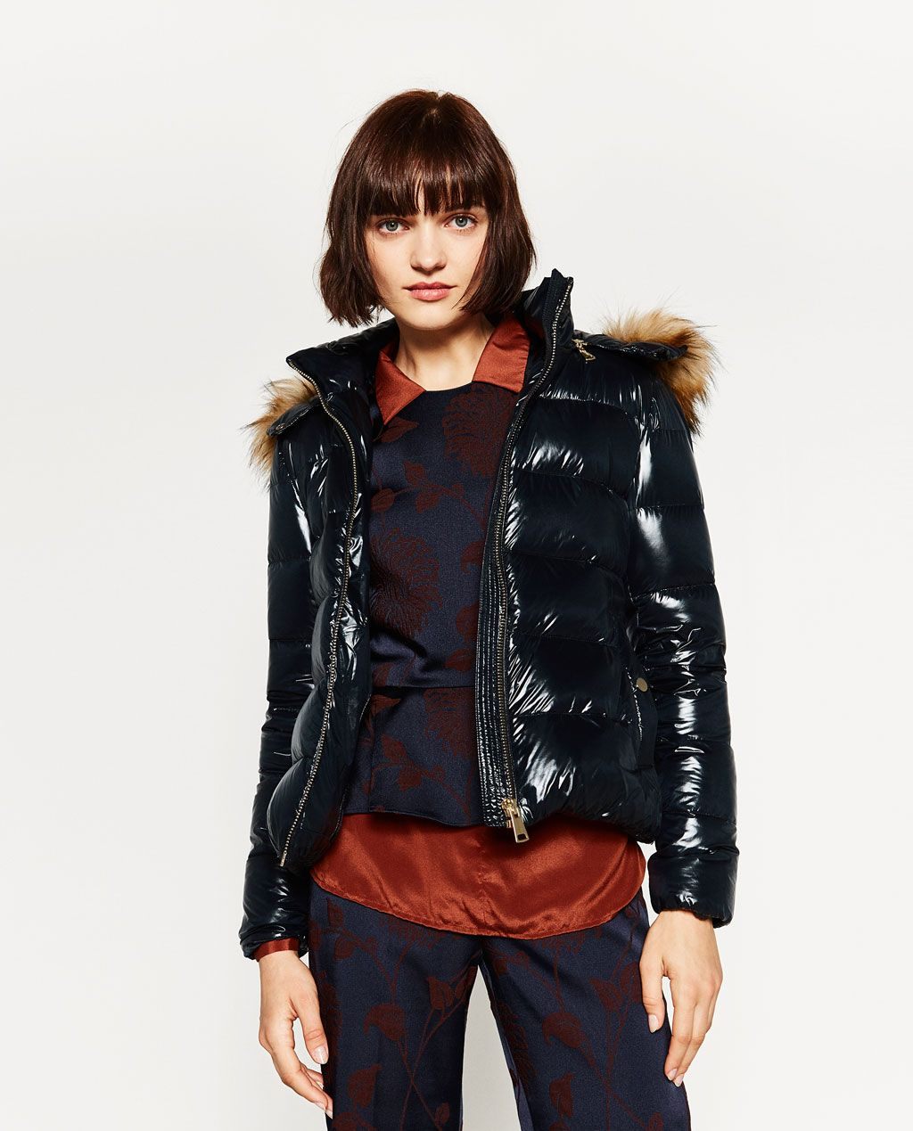 Image 2 of SHORT SHINY QUILTED FEATHER DOWN COAT from Zara | coats ...