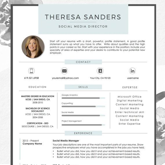 Resume Template For Ms Word With Photo Theresa 1 2 Page Etsy Resume Template Resume Template Word Downloadable Resume Template