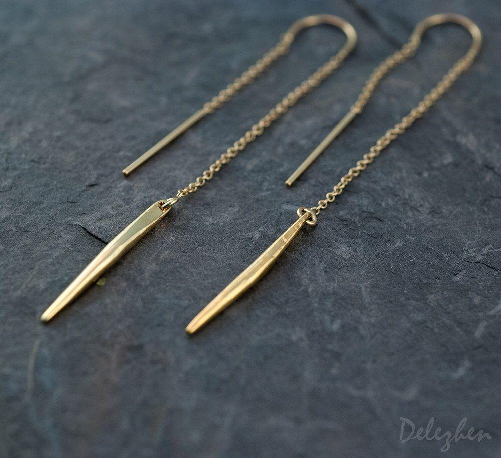 Gold Ear Thread Earrings Threader Minimal Jewelry Long Dangle Earring