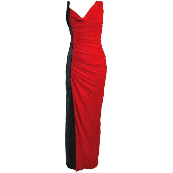 Preowned Gianni Versace Two-tone Black & Red Diva Evening Dress ...
