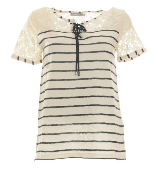 Shirt Bij Hals Bovenzijde Kanten T In Dames De Met Geisha Veterdetail Streepdessin Detail Transparant Aan Shortsleeve E6aUqWZx