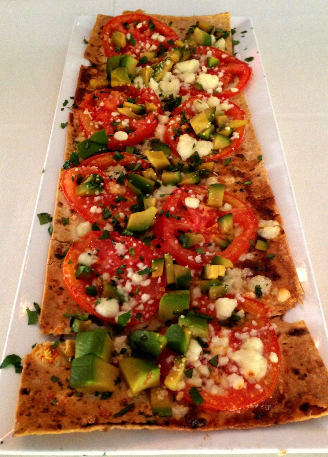 Flatbread Pizza - Tomato, avocado, queso fresco, fresh cilantro and garlic oil