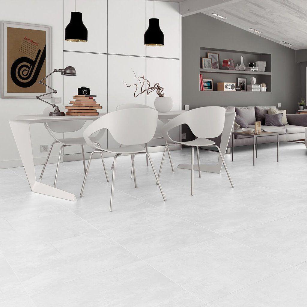 Factory large white floor tiles in uber modern home