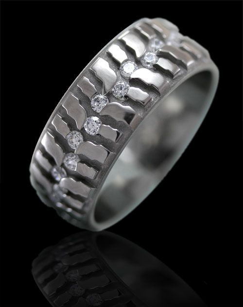 Tire Tread Titanium Ring With Diamonds