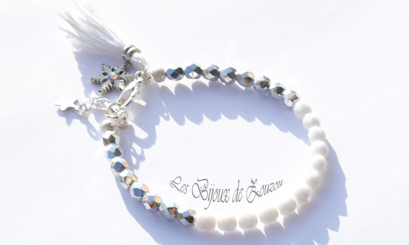 bracelet  en perle blanc et argent de *Les Bijoux de Zouzou* sur DaWanda.com