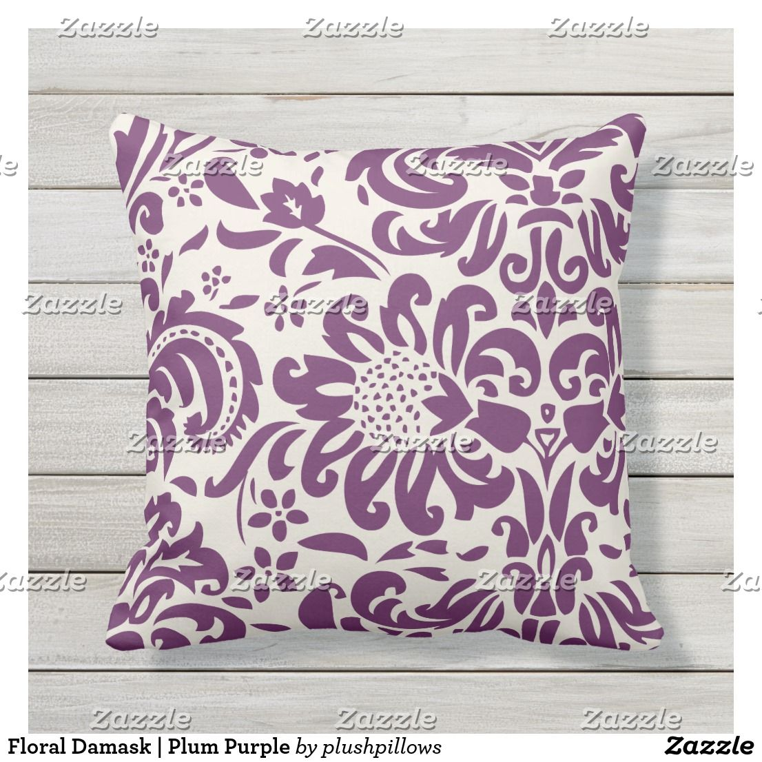 Floral Damask Plum Purple Outdoor Pillow Floral Damask Purple