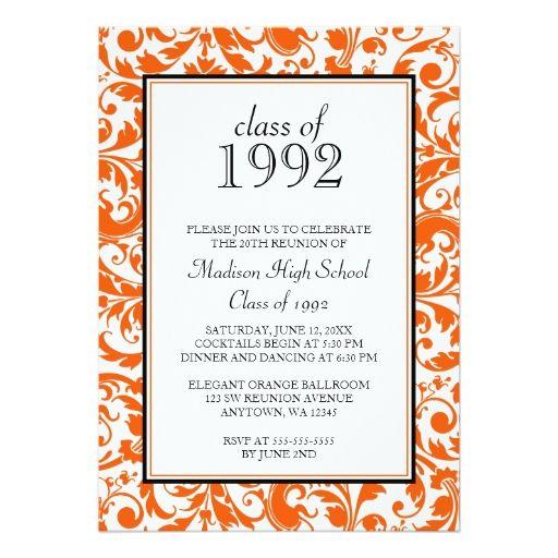 orange black swirl damask class reunion invitation pinterest