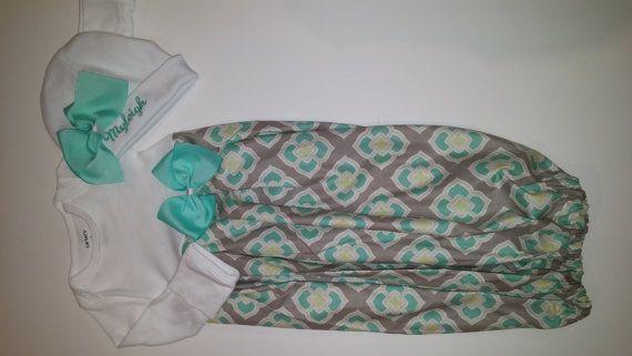Newborn infant baby layette beanie personalized boutique custom newborn infant baby layette beanie personalized boutique custom set wholesale gown gray seafoam gift shower first negle Choice Image