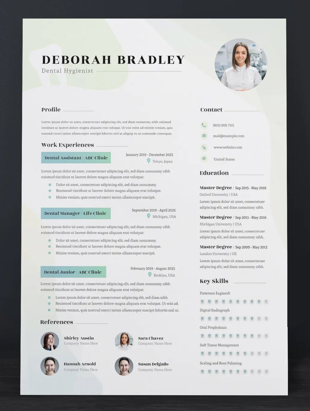 Dental resume cv template ai eps pdf in 2020 cv