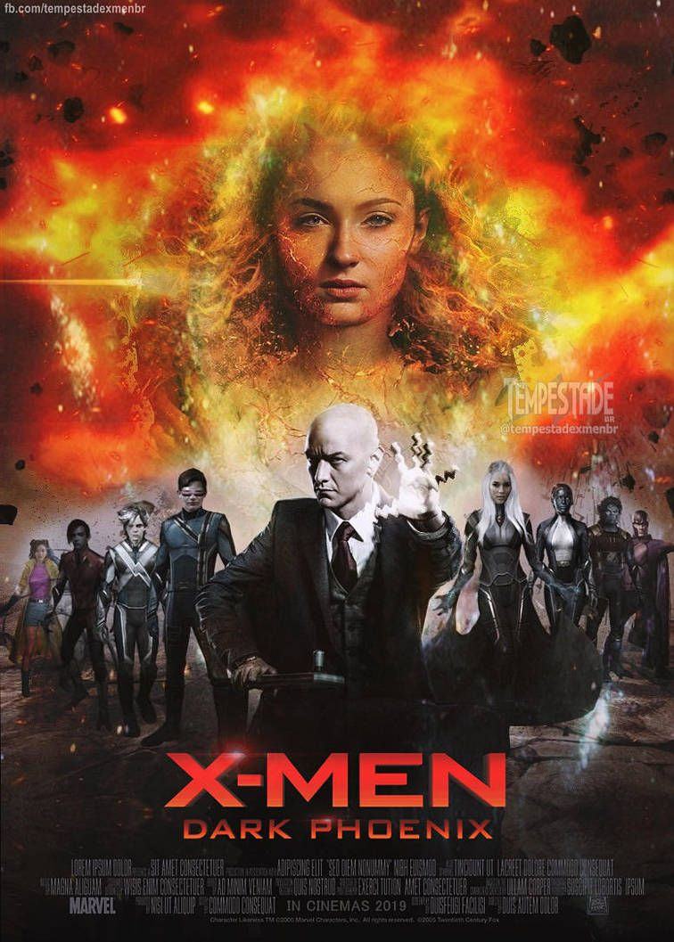 X Men Dark Phoenix 2019 Poster By Tempestadexmenbr01 Dark Phoenix X Men Summer Fontana