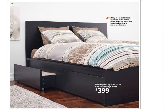 Ikea Bed With Pull Out Drawers In Black Queen Or King Size Malm