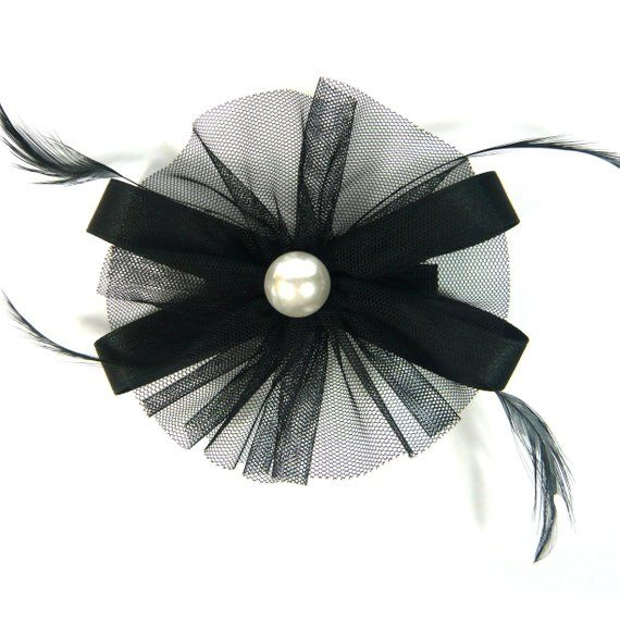 Black Thin Round Net Mesh Fabric Flower Ribbon Bow Faux Pearl Feather Decor Fascinator Style Hair Clip Pin Hairpin Women Fashion Accessory #fascinatorstyles