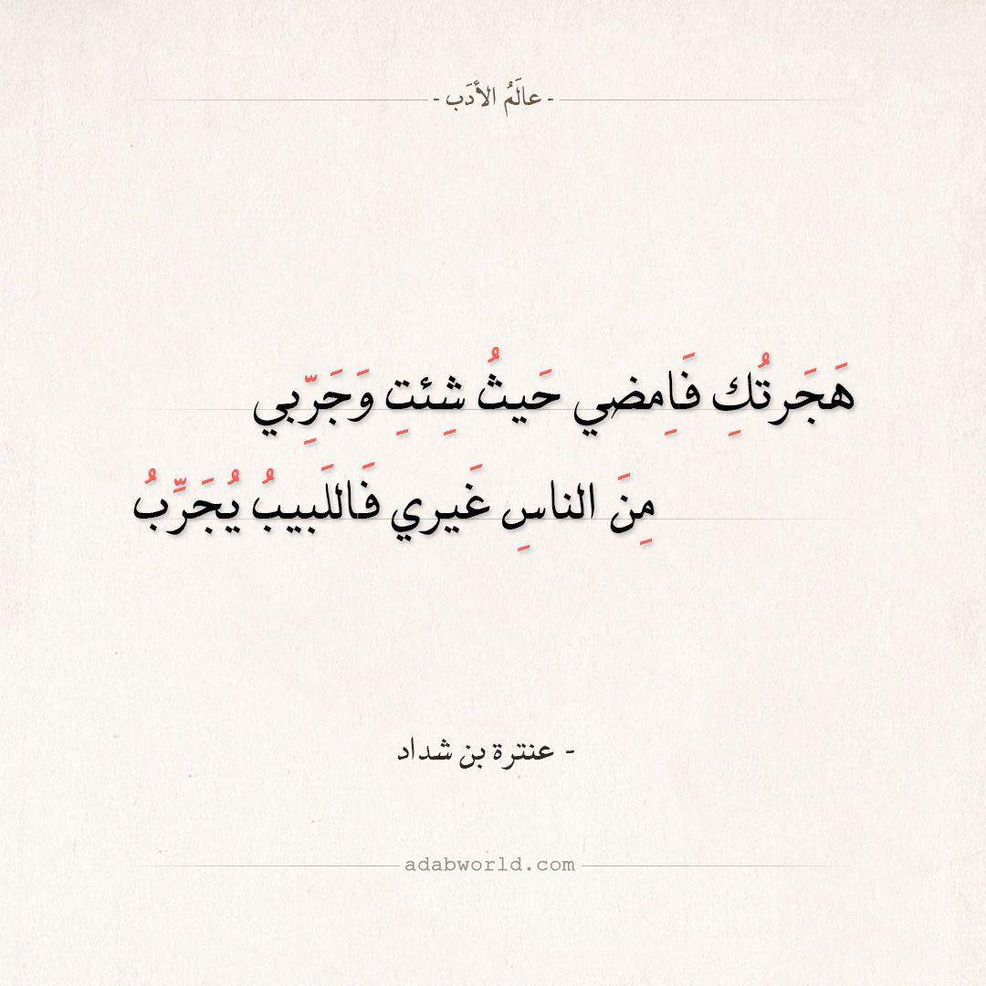 شعر عنترة بن شداد هجرتك فامضي حيث شئت وجربي عالم الأدب Arabic Poetry Arabic Quotes Quotes