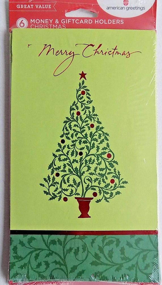6 Holly Berry Tree Christmas Money Gift Card Holders & Envelopes ...