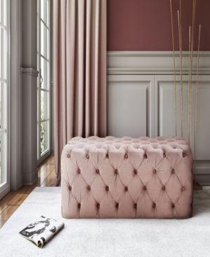 Kaylee Blush Velvet Ottoman Black Velvet Ottoman Furniture Tufted Ottoman