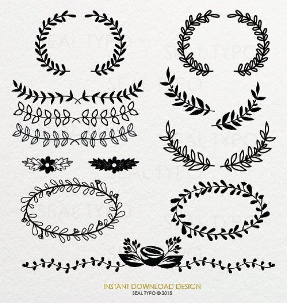 CLIP ART Botanical Flowers & Wreaths Design : png DIY