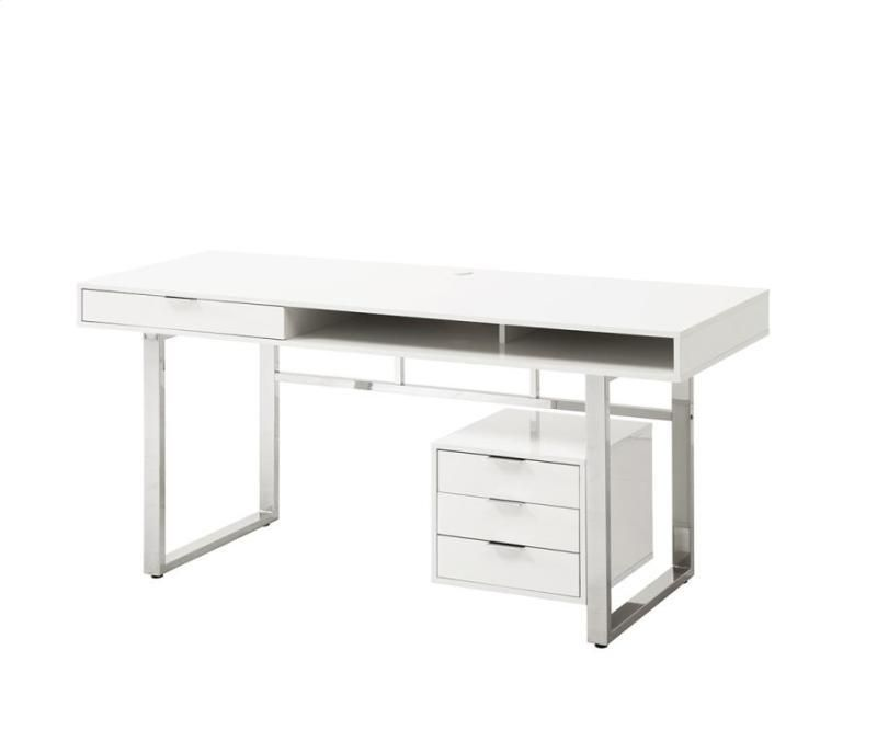 Coaster 800897 White Contemporary Writing Desk Desk With Drawers Coaster Furniture Wood Office Desk