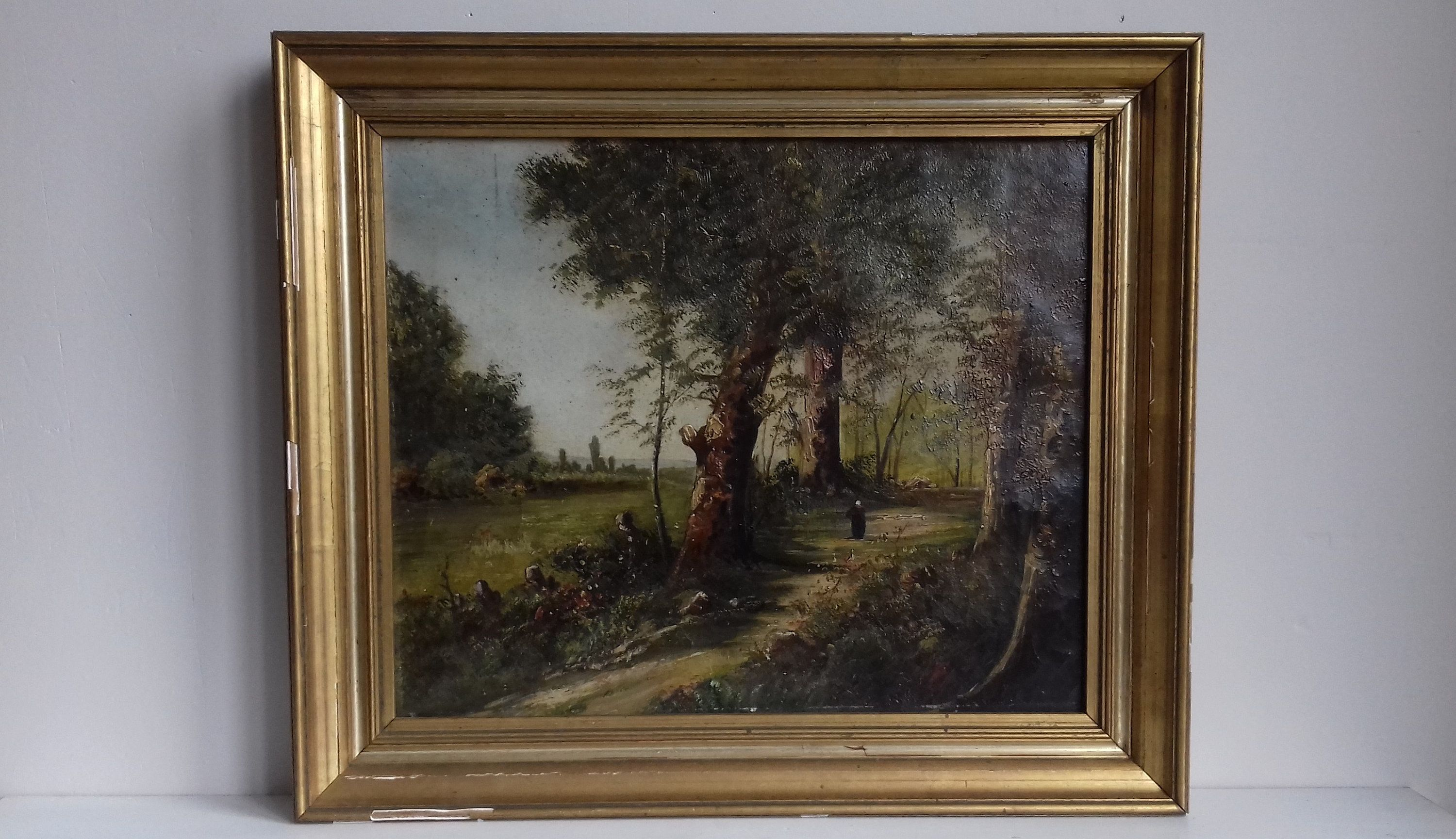 Oil On Canvas Mounted On An Hardboard Of An Animated Undergrowth In The Barbizon Style