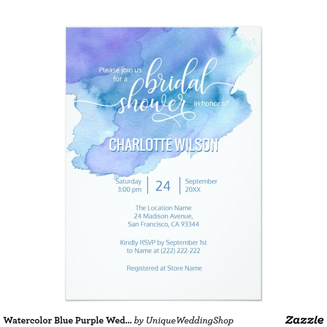 Watercolor Blue Purple Wedding Bridal Shower Invitation   { Wedding ...