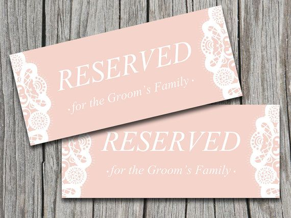 Wedding Reserved Sign Template Blush Pink Shabby Chic Wedding - microsoft word sign template