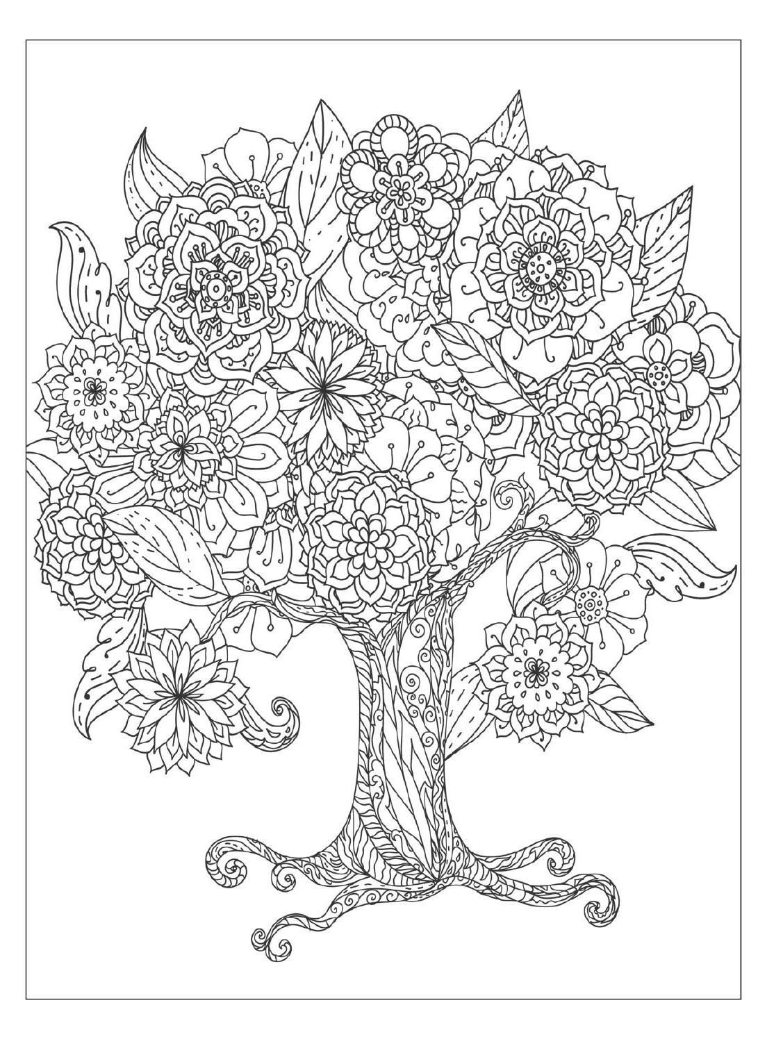 Beautiful Flowers Detailed Floral Designs Coloring Book Preview Tree Coloring Page Designs Coloring Books Flower Coloring Pages