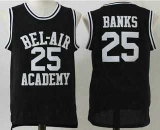 735a85670679 The Movie Bel Air Academy Jersey 25 Banks Black Swingman Basketball Jerseys