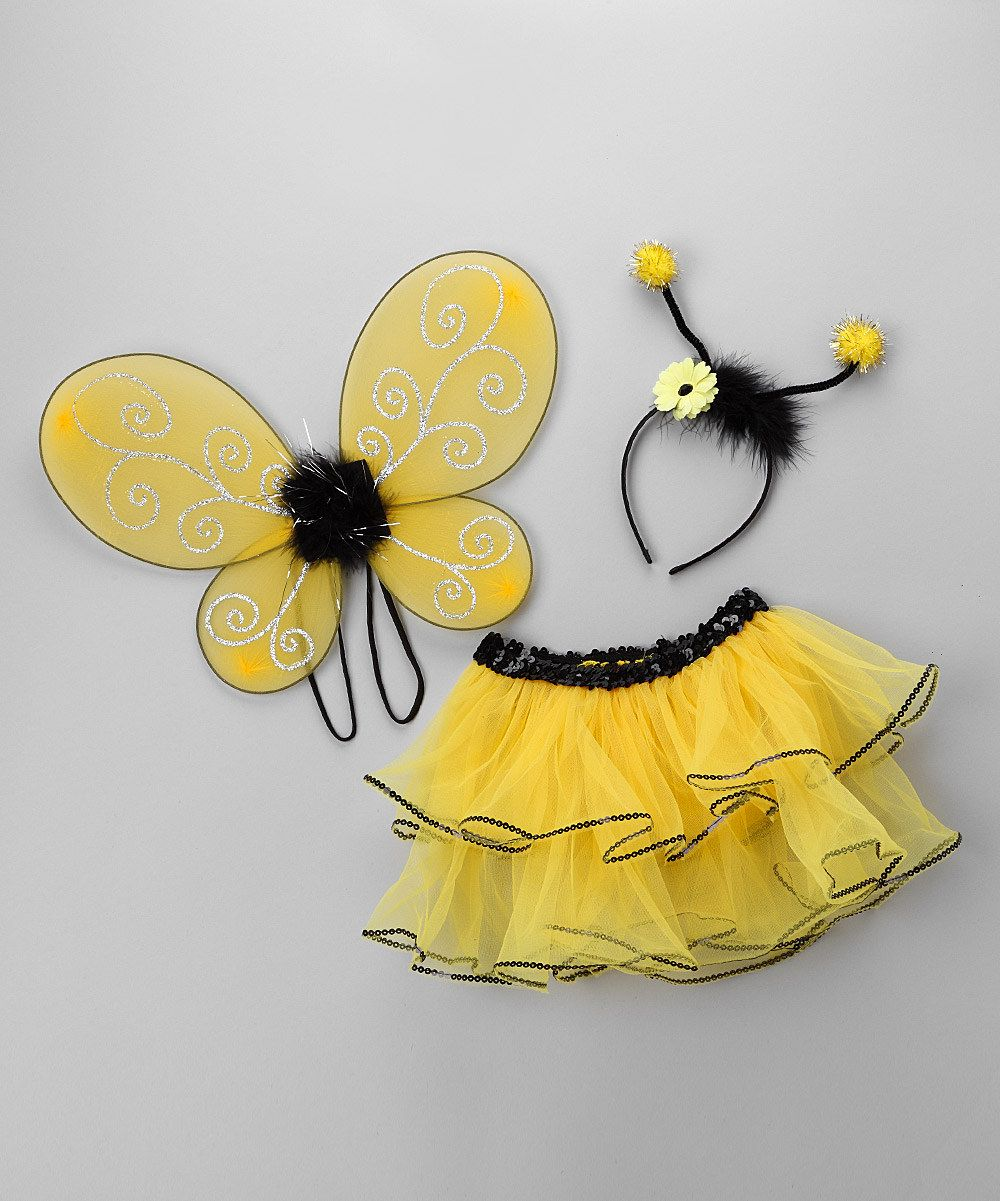 Bumble Bee Kit Animal Insect Cute Black Yellow Wings Headband Costume Accessory