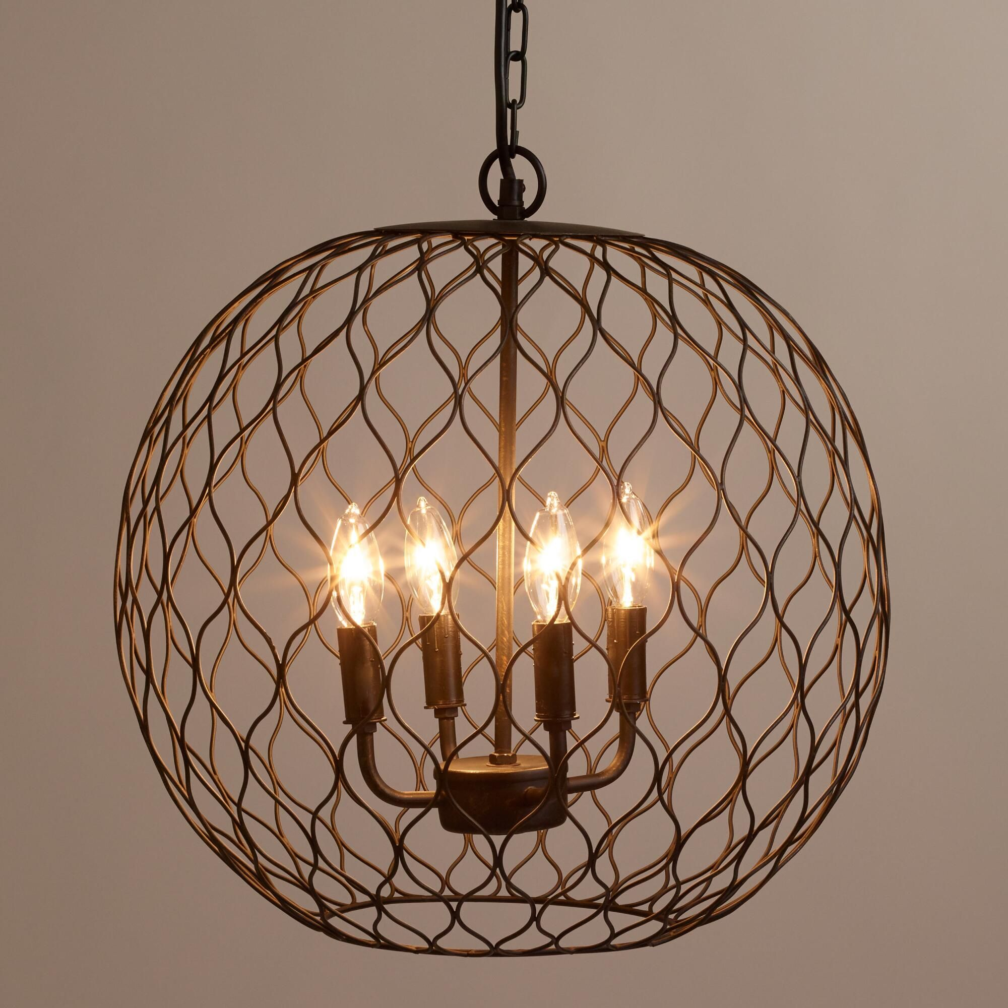 Crafted Of Iron With A Dark Bronze Finish Our Exclusive Open Globe Chandelier Adds
