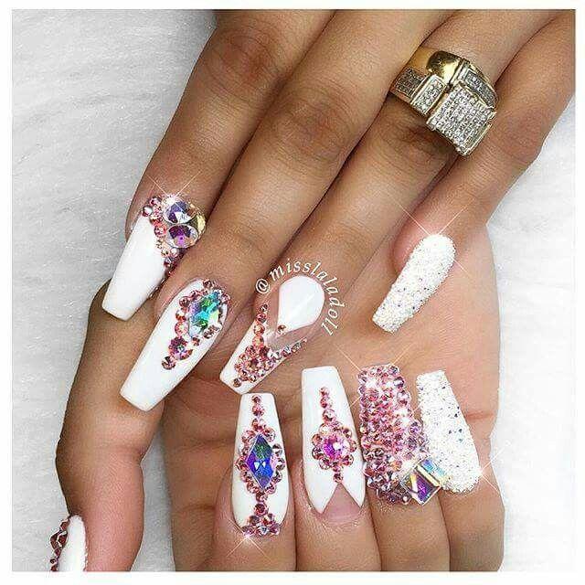 Long White Opal Glitter Crystal Rhinestone Coffin Nails Nails